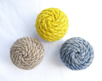 Small Sisal Rope Decorative Ball, Ornament, Natural or Dyed Sisal, Nautical Home Decor