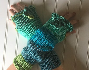 I Dream In Green - Fingerless Knit Mitts Gloves - Bright and Cheerful Multi Color Green with Crochet Flowers - Gorgeous