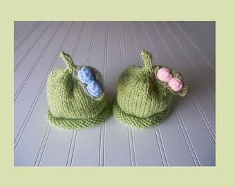 Sweet Baby Pea Hat - Perfect for Twins - Boy or Girl