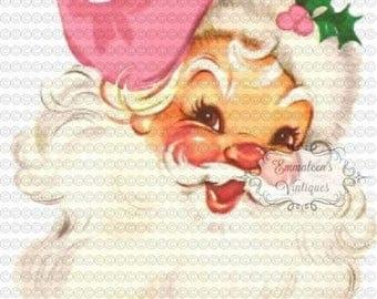 Vintage Shabby Retro Pink Cap Hat Santa Head Christmas Digital Download — Printable Ephemera