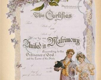 Vintage Marriage Certificate Digital Image Clip Art Cardmaking Mixed Media Graphic Design Scrapbooking Digital Download —Printable Ephemera