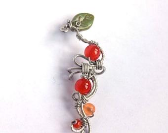 Berries Earcuff, Carnelian and yellow jade wirewrapped earcuff,  handmade wire jewelry, for her, gift ideas, carnelian jewelry, silver wire