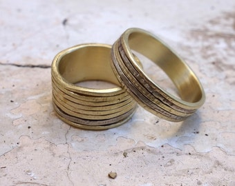 Wedding ring set Unique His and Hers Wedding bands Promise Rings Gold Bands Jewelry Mixed metal Bimetal wedding bands For her - for him