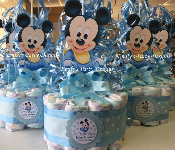 Baby Shower Diapers Centerpiece Mickey Mouse