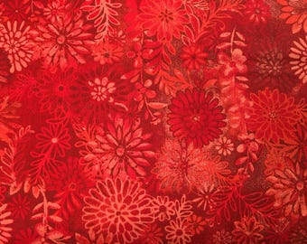 Red floral fabric by the yard - red fabric by the yard - bright red fabric - #17036