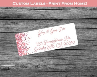 Red Confetti - Custom Return Address Labels Print From Home