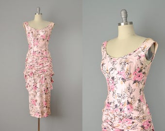 50s Dress // 1950s Beaumelle Pink Abstract Floral Print Bombshell Dress w/ Layered Bustle  // Small