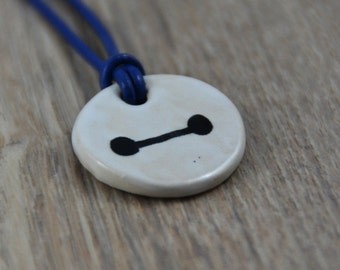 Baymax Ceramic Medaillon on a Leather Necklace