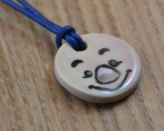 Piglet Winnie the Pooh Ceramic Medaillon on a Leather Necklace