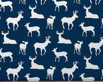 Blue Deer Fabric by the BOLT Wholesale Premier Prints Silhouette navy white cotton home decor hunting curtains drapes pillows 30 yards!