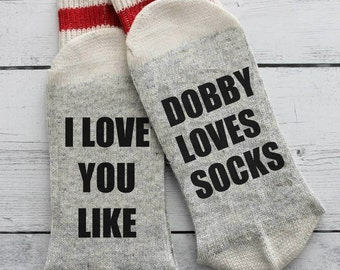 Harry Potter, Dobby, funny socks, if you can read this, I love you, mom, dad, grandpa, birthday, beer socks, Dobby loves socks