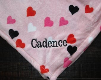 Personalized Blanket, Hearts - Monogrammed - Throw - Blankets - Personalized Gifts - Heart Blanket - Monogram - Monogrammed Blankets