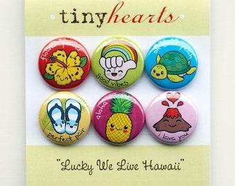 """Lucky We Live Hawaii Set - 1"""" Cute Kawaii Hawaii Magnets"""