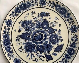 "Royal Delfts Blauw HandwerkBlue // 7.5"" 19cm // Wall Hanging ceramic / pottery Plate"