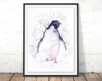 Penguin Illustration Penguin Art Print Penguin Painting Penguin Wall Art Penguin Gift Watercolour Penguin drawing Print for wall