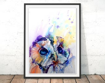 Tawny Owl Art Print, Owl Wall Art, Barn Owl Home Decor, Owl Painting, Tawny Owl Watercolour by Liz Chaderton