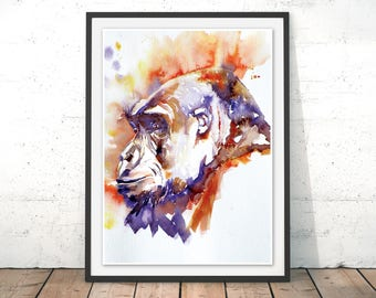 Gorilla Watercolour Art Print, Purple and Orange Gorilla Wall Art, Ape Painting, Gorilla Poster by Liz Chaderton
