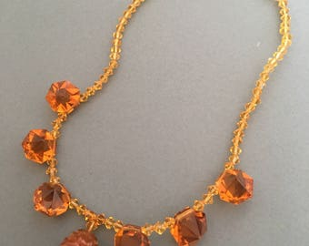 Art Deco Glass Necklace Amber Colour Beads Vintage Drop Pendant