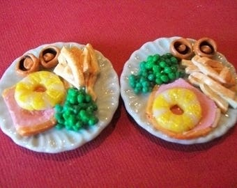 Barbie  doll food accessories lunch dinner gammon steak for two.