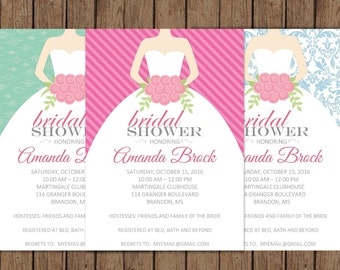 Bridal Shower| Customizable | Bridal Gown Invitation | Choose your backgound | Teal | Pink | Blue