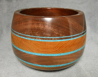 Wood Bowl, Hand Turned, Walnut, Oak, Turquoise Inlay
