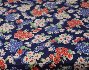 Vintage Blue Floral Cotton Fabric