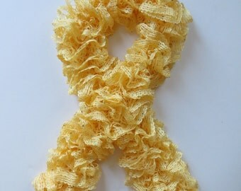 Ruffle scarf, Frilly scarf, Knitted scarf, Fashion scarf, Mother's Day gift, Light Yellow scarf, Spring Accesories, Spring Fashion, gifts