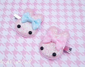 Pastel Cotton Candy Sparkly Bow Bunny Rabbit Kawaii Hair Clips