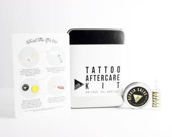 TATTOO AFTERCARE KIT // Step-by-Step Instructional Card // Repair Salve // Natural Tattoo Healing