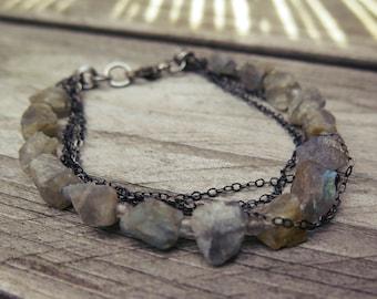 Raw labradorite bracelet Handmade jewelry Sterling silver One of a kind rustic bracelet