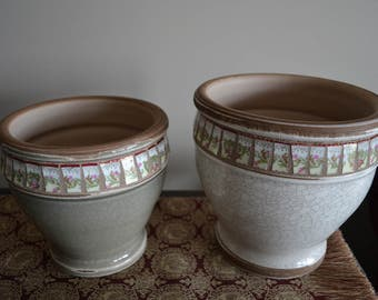 Pair of Mosaic Planters With Vintage Broken China