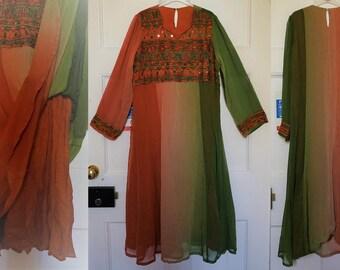 Vintage 70s 80s embroidered mirror work Rainbow Indian Gauze Dress/Tunic Folk/Boho/Hippie/Festival/Gypsy/India/Kuchi/Tribal/Nomads