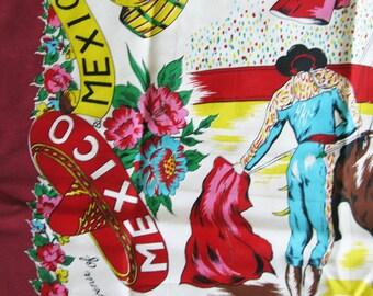 Vintage Mexico Souvenir Scarf - Rayon 1950's  Travel- Scenic