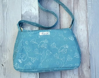 Blue shoulder bag, handbag, small purse, floral, botanical, handprinted, wedding, special occasions