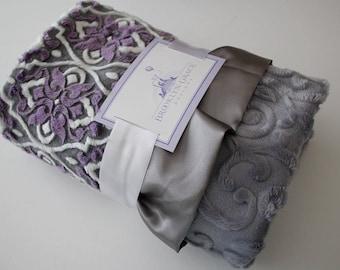 Mar Bella Valencia Violeta Purple, Plum with Embossed Vine in Gray with Gray Satin Trim Minky Blanket, Crib Bedding, Nursery, Baby Shower