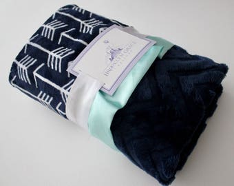 Navy and White Arrow Minky with soft Embossed Chevron and Finished with a Saltwater Satin Trim - Baby, Crib Bedding, Nursery, Aztec, Tee Pee