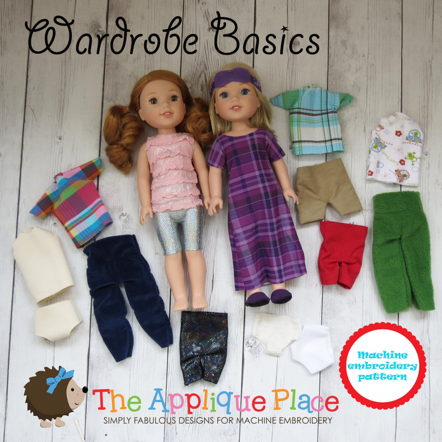 Doll clothing pattern in the hoop ith wardrobe basics
