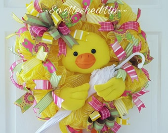 Adorable Deco Mesh Spring/Easter wreath, This wreath says April Showers bring May Flowers!