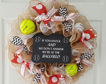 """Baseball wreath! """"If you knock and we don't answer we're at the ball field""""!  Deco mesh Baseball wreath"""