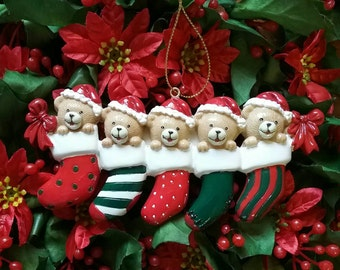 Family of 5 personalized Christmas Ornament-teddy bear