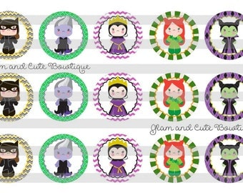 """Movie VILLAIN Characters Ursula Maleficent Catwoman INSTANT DOWNLOAD Bottle Cap Images 4x6 sheet 1"""" circles"""