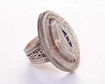 Ornate lapis lazuli and sterling silver tribal ring / statement ring / lapis lazuli / healing gemstone / lapis ring / lapis tribal ring 1168