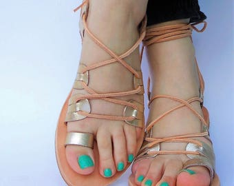 Goddess ARTEMIS's Gold Flat Sandals, toe ring tan leather sandals for fashion creations, Gold Flats, feel like a goddess!