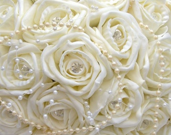 Large Ivory Rose Brides Bouquet - Finished with Pearl Garland and Pearl Pins