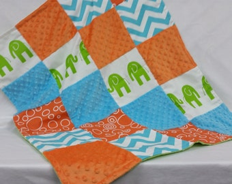 Bright and Lively Patchwork Baby Blanket for  a Boy or Girl