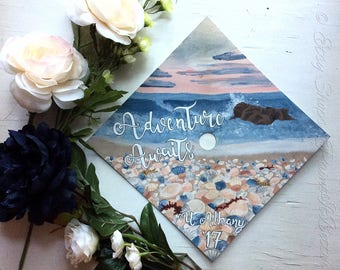 Custom Beach Grad/Graduation Cap Painting