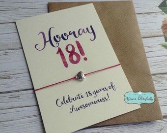 Happy 18th Birthday Friendship Bracelet, 18th Birthday Gift, Hip Hip Hooray, 18th Birthday Bracelet, Daughter 18th Birthday, 18th Wish