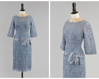 Vintage original 1950s 50s Mary Black London wholesale couture lavender lace wiggle dress UK 6 US 2 XS