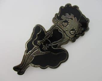 Sterling Silver Black Enameled Betty Boop Brooch Pin KFS-FS