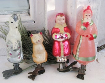 Very rare full set of Antique Russian Christmas mercury glass ornaments  Fairy tale  P. Bazhov SILVER HOOF, made in Ussr